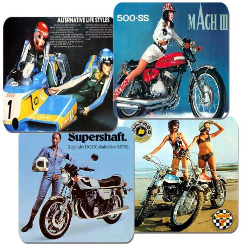 Seventies Girls & Their Motorcycles Coasters Set Of 4 Motorbike Classic 70s Bike